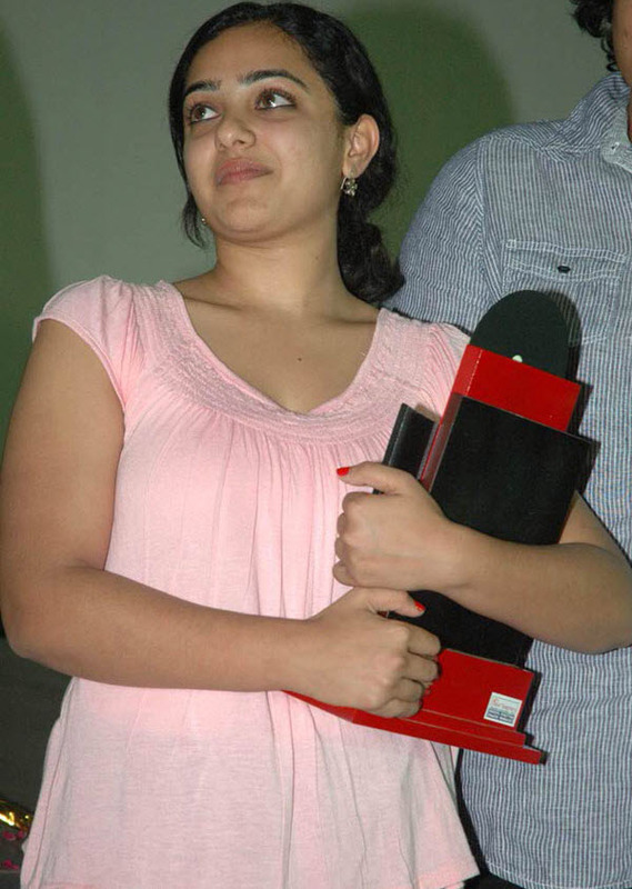 Nithya Menon Hot Pink Dress without Makeup Photos