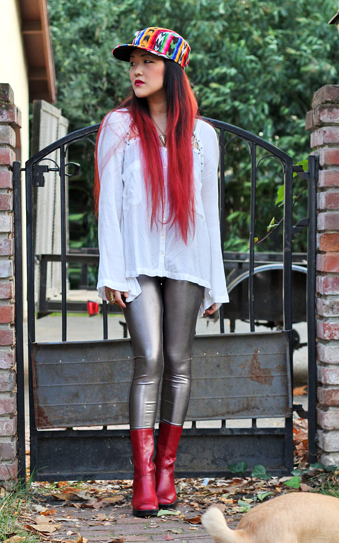 silver metallic leggings