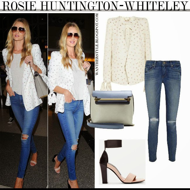 23eefe098a9 WHAT SHE WORE  Rosie Huntington-Whiteley in white embroidered blazer with  blue distressed skinny jeans and ankle strap sandals at LAX on August 22 ~  I want ...