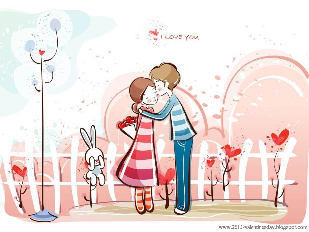 Wallpaper Hd Love Kiss cartoon : cute cartoon couple Love Hd wallpapers for Valentines day