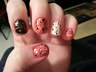 Abstract Koi markings achieved by layering glitters.