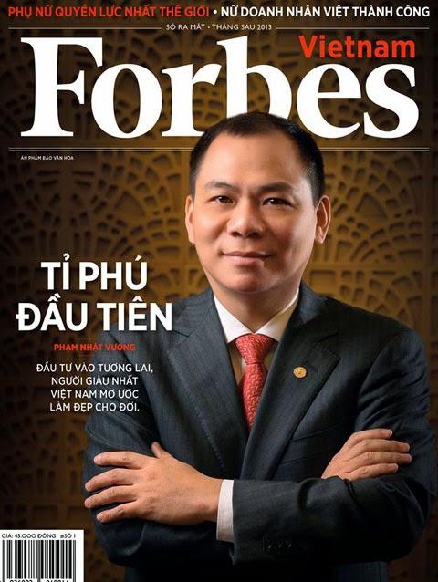 Tỷ phú Phạm Nhật Vượng trên bìa tạp chí Forbes Việt Nam, Ảnh: Forbes
