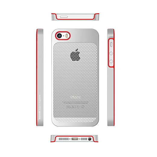 7mm Dieslimest Duo:mesh Red Hexa Silver Case for Iphone5 / 5s - image