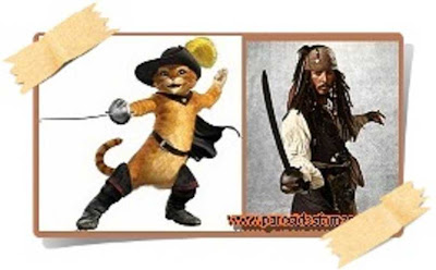 gato con botas y Jack Sparrow