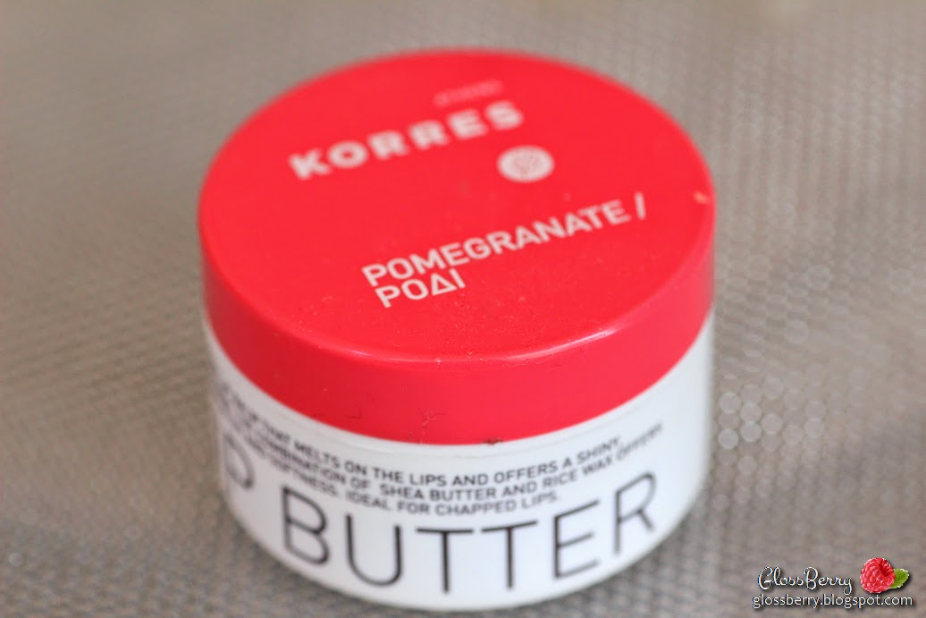 review korres lip butter pomegranate strawberrynet swatch חמאת שפתיים קורס רימונים סקירה ביוקרת גלוסברי בלוג איפור