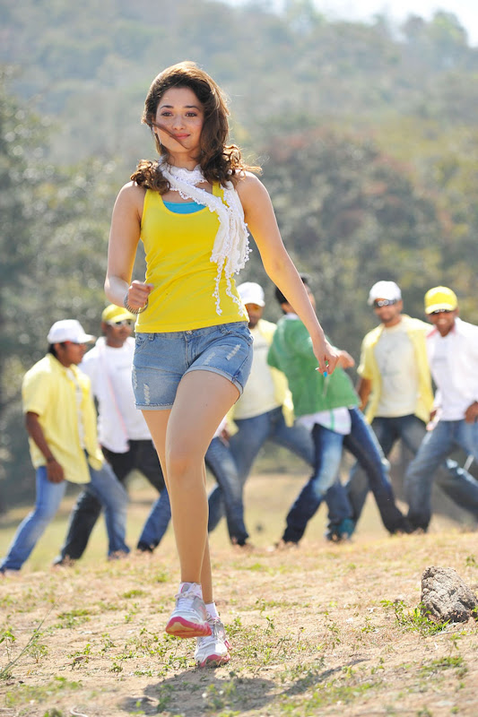 - Tamanna bhatia in Yellow Top Blue Shorts