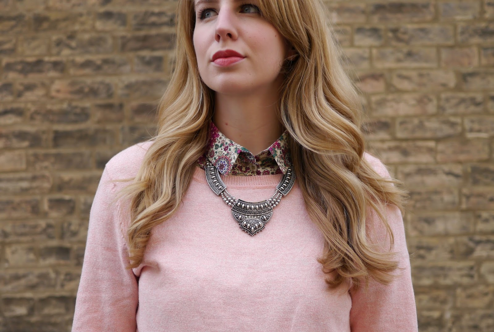 New Look Pastel Pink Jumper with Chunky Necklace and Topshop Folk Print Shirt