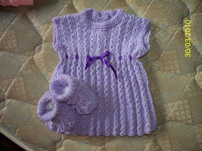 Vestidos tejidos en dos agujas para niña - Imagui