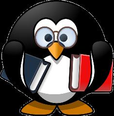 immagine di pinguino con libri in mano