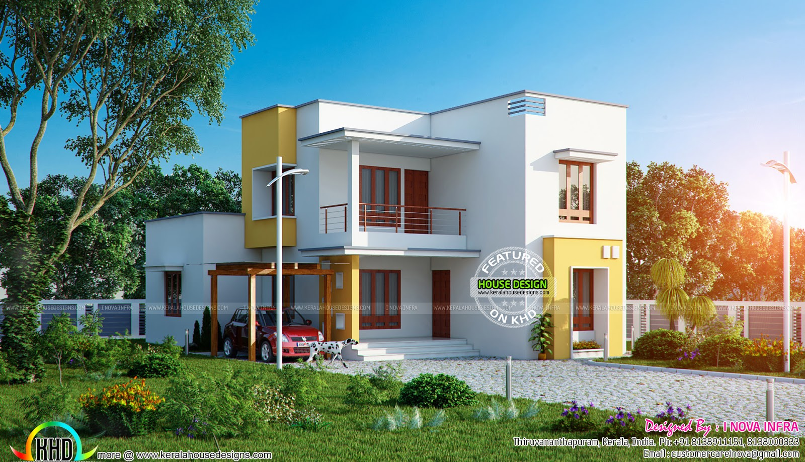 Flat roof 209 sq m house plan kerala home design and floor plans - House plans atticsquare meters ...