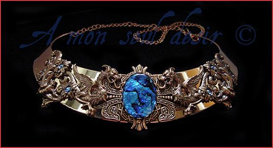 Collier dragon médiéval torque bronze Or bleu Haliotis Ormeau Abalone