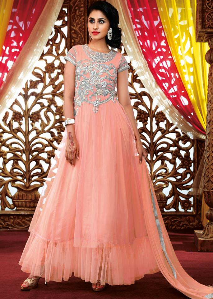 Traditional Indian Party Wear Dresses 2016 In Pink Color She Dresses 9
