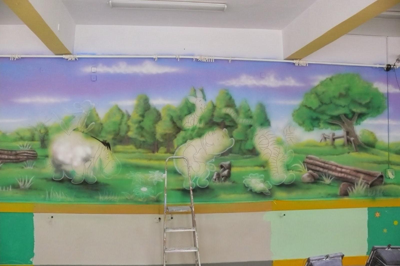 Malowanie na ścianie motywu z bajki Kubuś Puchatek i przyjaciele, Warszawa malarstwo ścienne