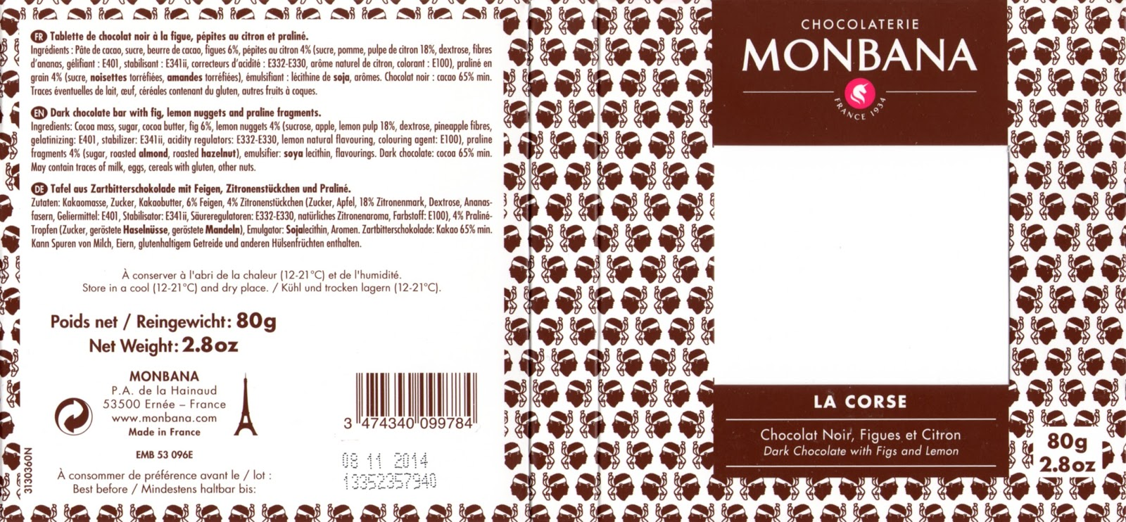 tablette de chocolat noir gourmand monbana noir la corse