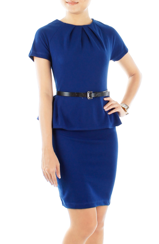 Ultramarine Dorothy Perkins-inspired Peplum Dress with Sleeves