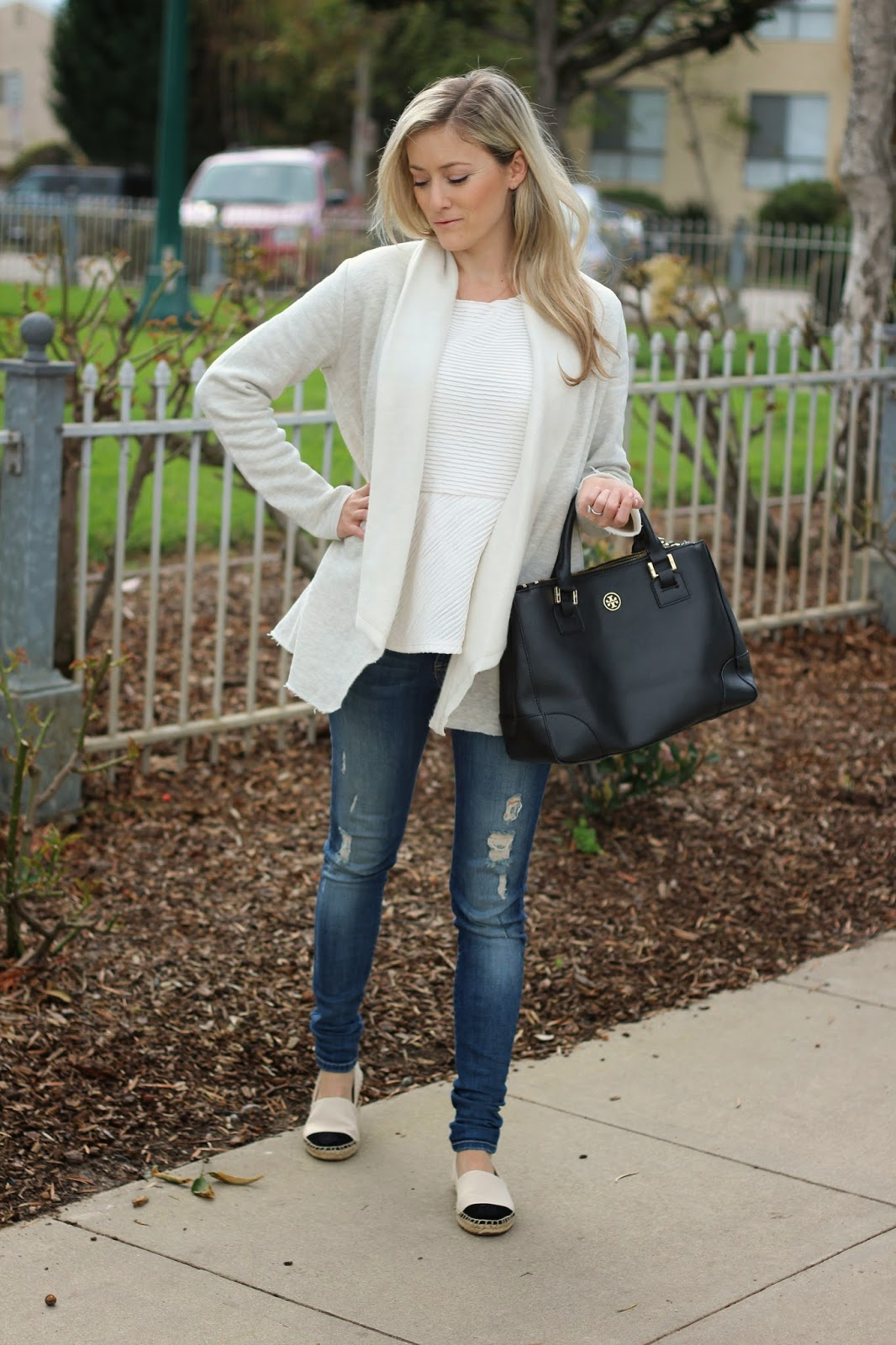 Tory Burch Espadrilles, Draped Cardigan, Neutral Outfit
