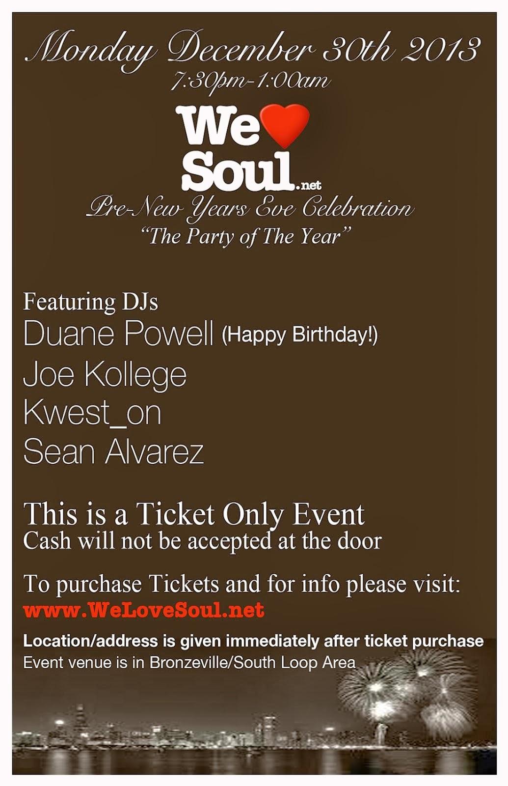 Mon 12/30: WLS PreNYE Celebration