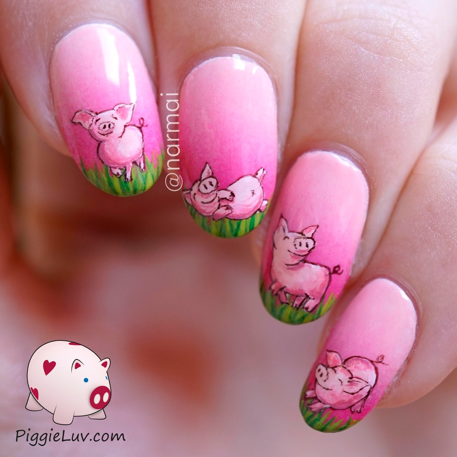 Pig Nail Art: PiggieLuv: Cute Piglet Nail Art For My 3rd Blogiversary