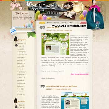 Colorful Traditions in South Korea blogger template from wordpress. blogger template for travel blog