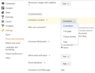 how to stop commenting feature on blogger