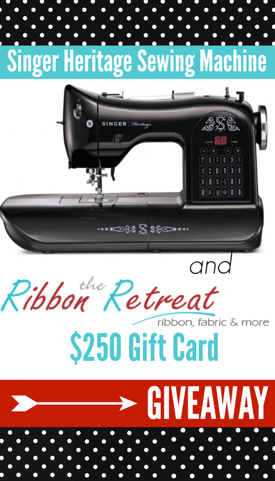 Vintage Singer Sewing Machine Giveaway and $250 to The Ribbon Retreat! u-createcrafts.com