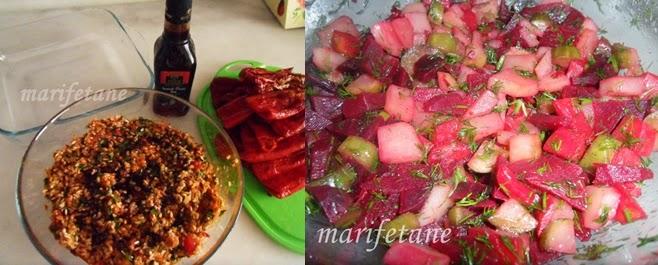 kuru biber dolması ve pancar salatası