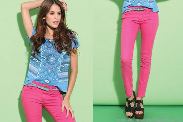 Moda verano 2014 taverniti 2014 remeras y jeans de mujer.