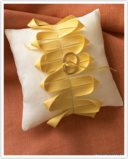 Wedding Ribbons Ring Pillow