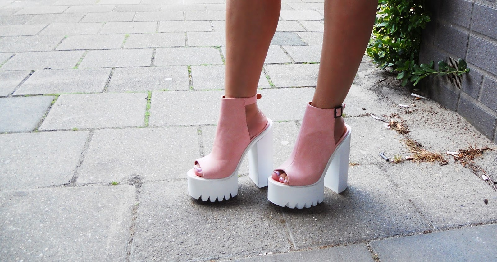 My1stWish Pink Cleated Sole Platforms Public Desire