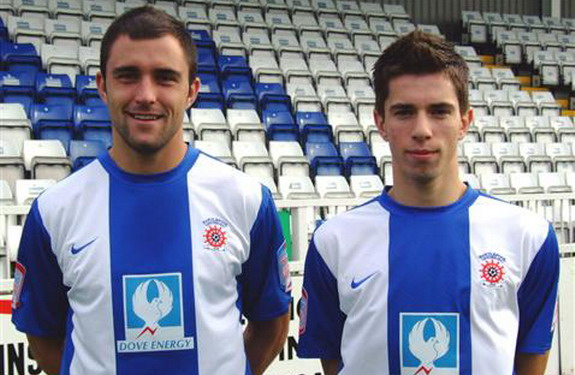 These are Hartlepool United duo of Peter Hartley (left) and James Poole (right)