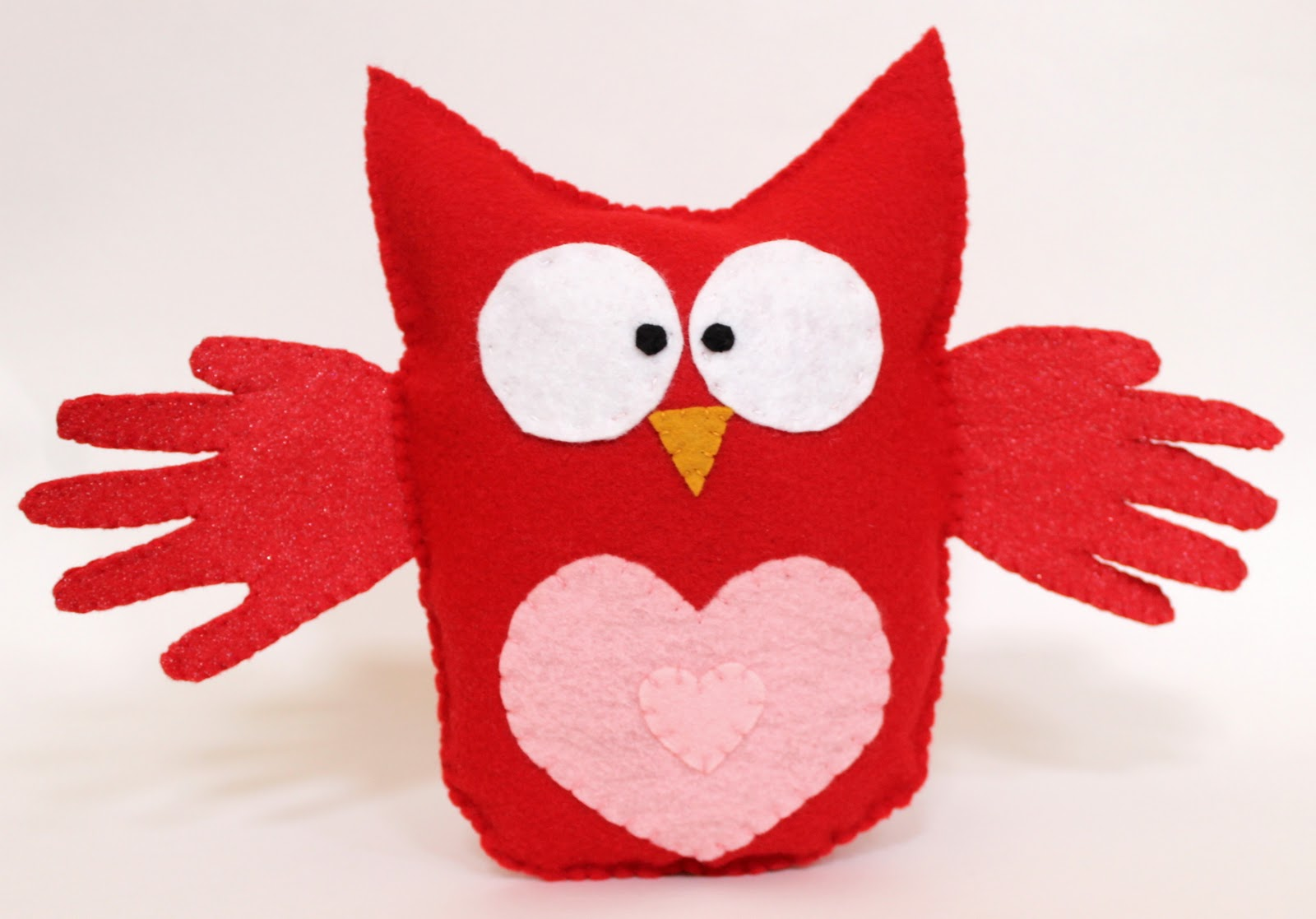 Valentine's Day Craft-- Felt Hand Print Owl Stuffed Toy