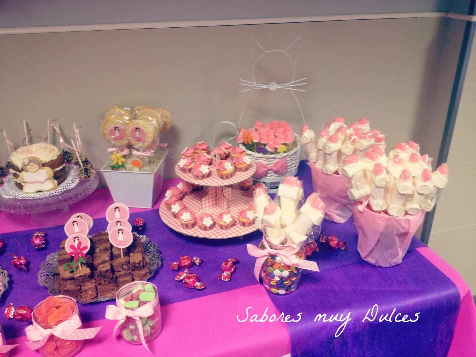 Sabores muy dulces mesa dulce y tarta de comuni n para andrea - Mesas para comuniones ...