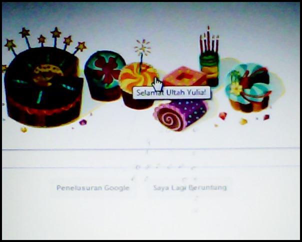 Ucapan Ultah Mengesankan dengan berbentuk tulisan Google.,