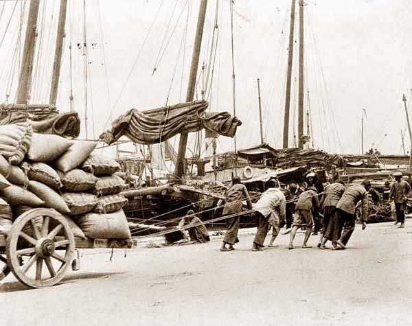 Trabajadores del puerto de Hong Kong 1890