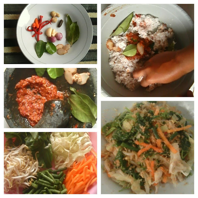 Indonesian vegetables Salad urap coconut grated dressing
