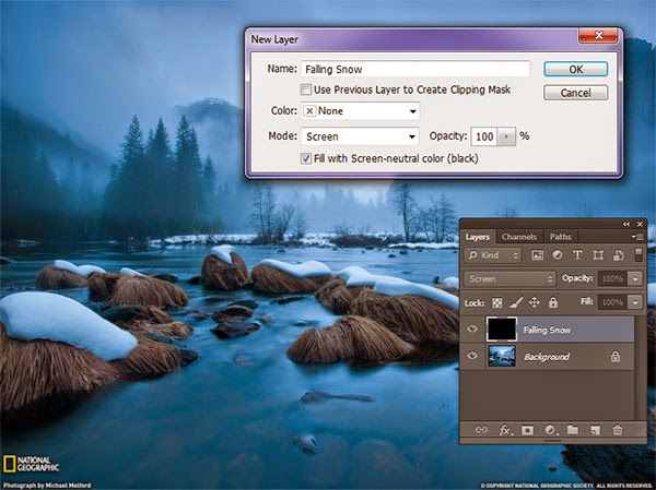 maya how to create falliong snow