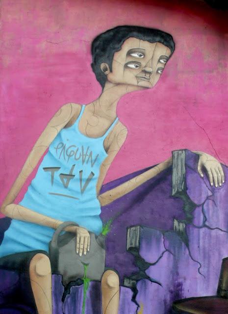 piguan graffiti street art in patronato, santiago de chile