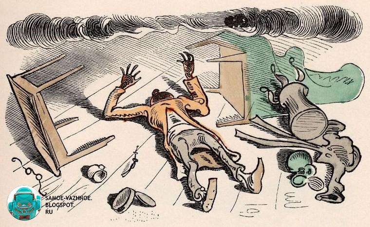 """История - комикс о двух непослушных мальчишках, которых запекли в тесте, но мальчики съели тесто изнутри и выбрались на свободу; из детского журнала """"Весёлые картинки"""""""