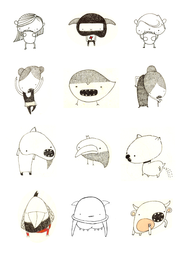 Character design and fictional beings' sketches, drawn with fine black marker