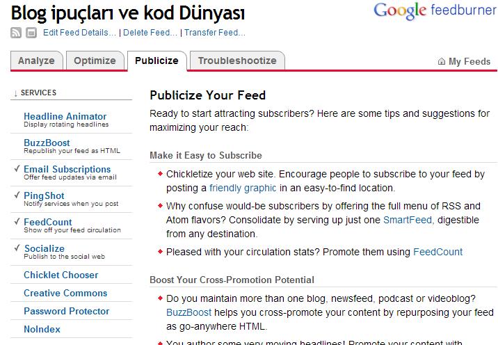 blogger feedburner ayarları