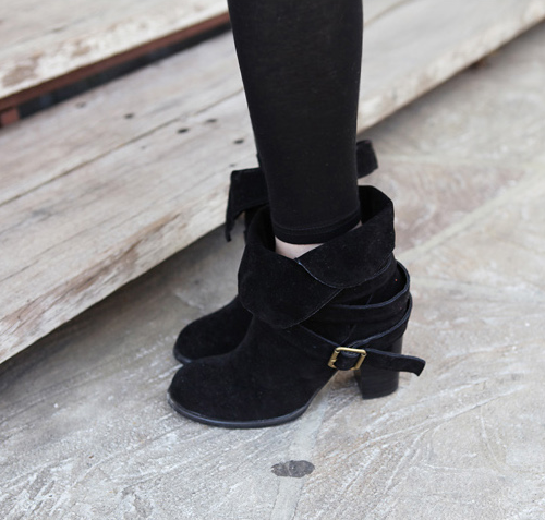 Miamasvin] Buckled Suede Fold Over Ankle Boots | KSTYLICK - Latest ...
