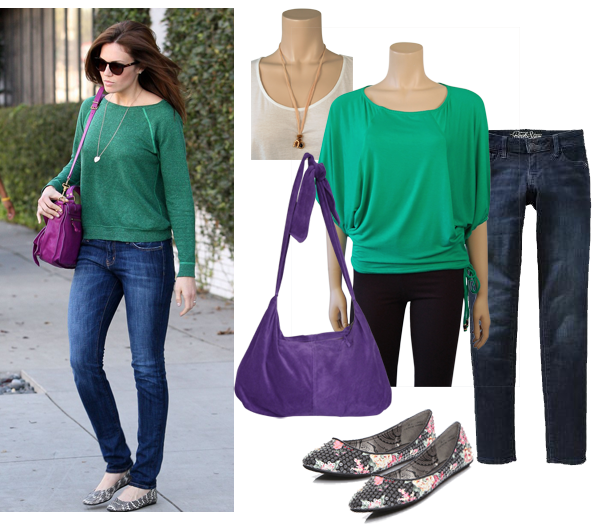 Mandy Moore, purple shoulder bag, skinny jeans, green shirt, flat shoes