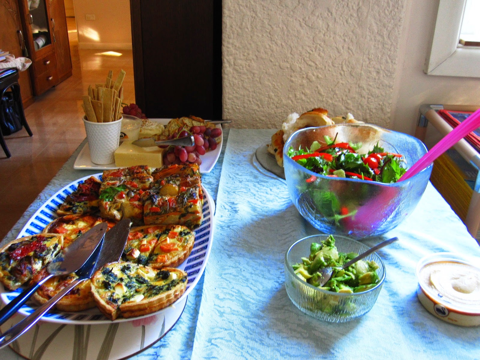 Selection of lunch dishes laid out on a table.