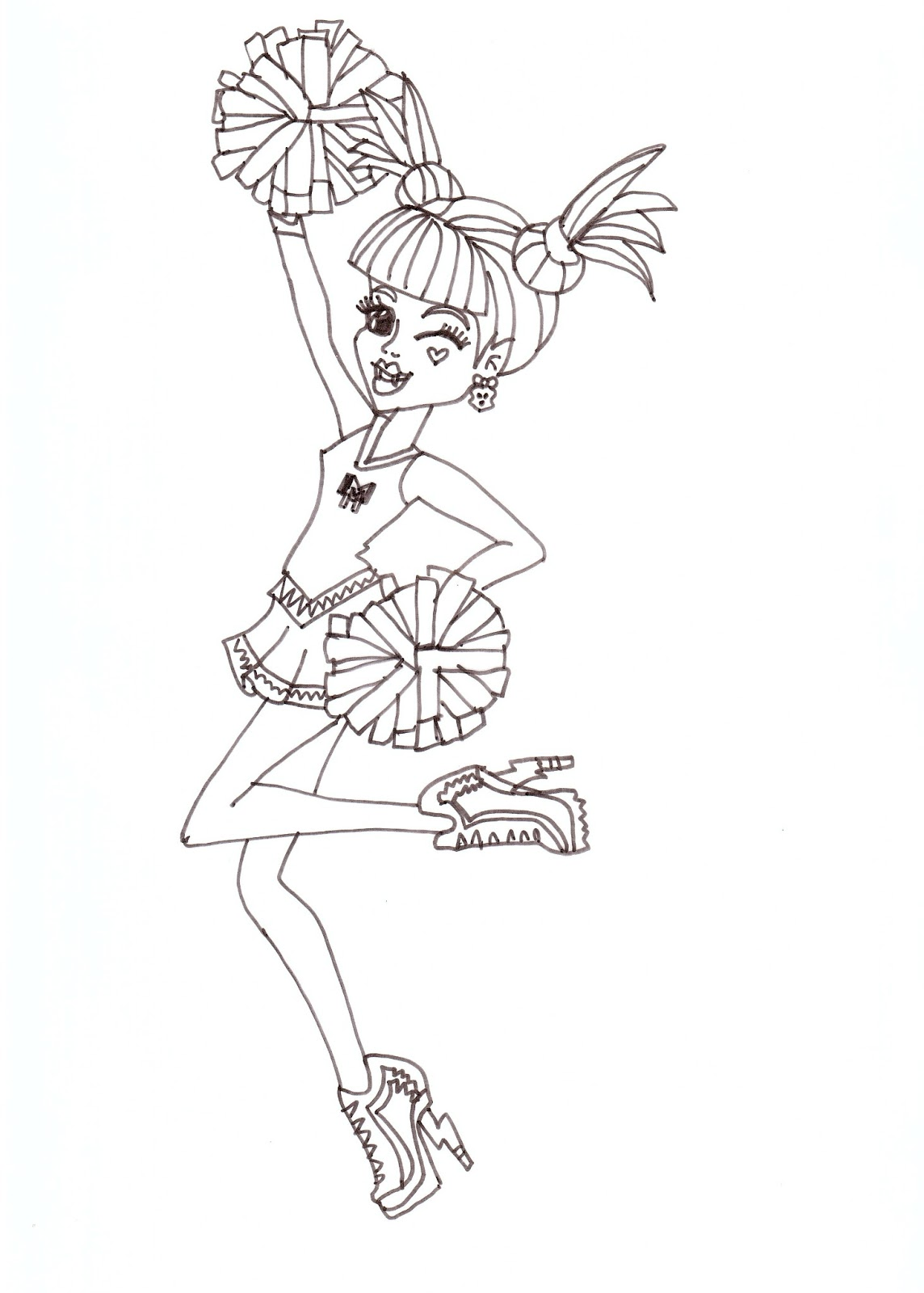free printable monster high coloring pages draculaura fearleading
