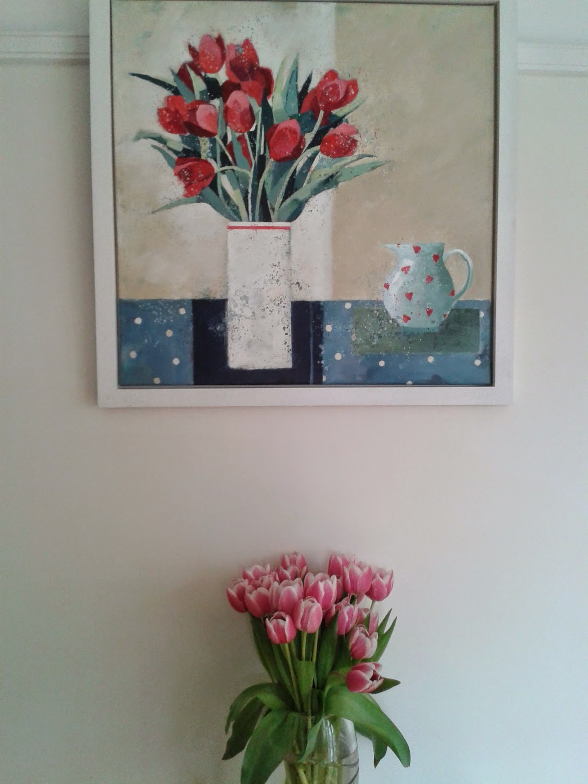 Pink Tulips & Paining of more Tulips
