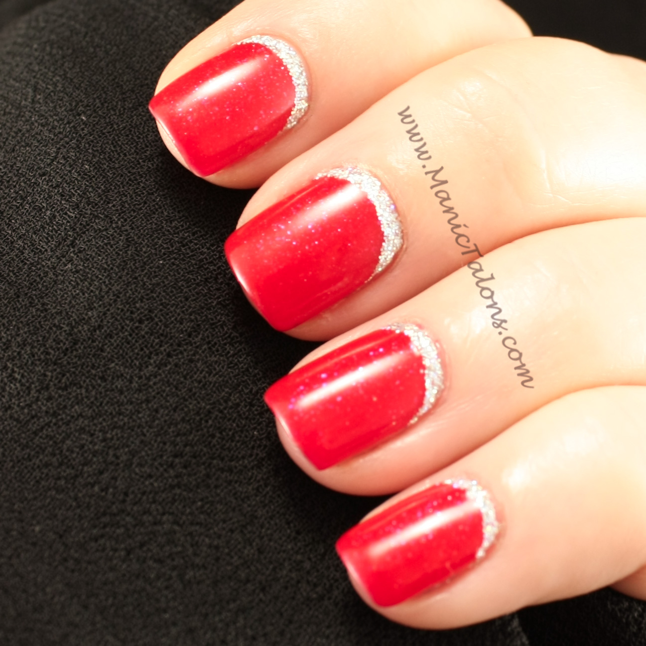 Manic talons nail design glittery ruffian holiday nails couture gel nail polish red carpet prinsesfo Images
