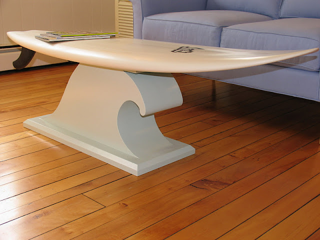 Wax buddy the wave table this surfboard coffee table for Surfboard coffee table