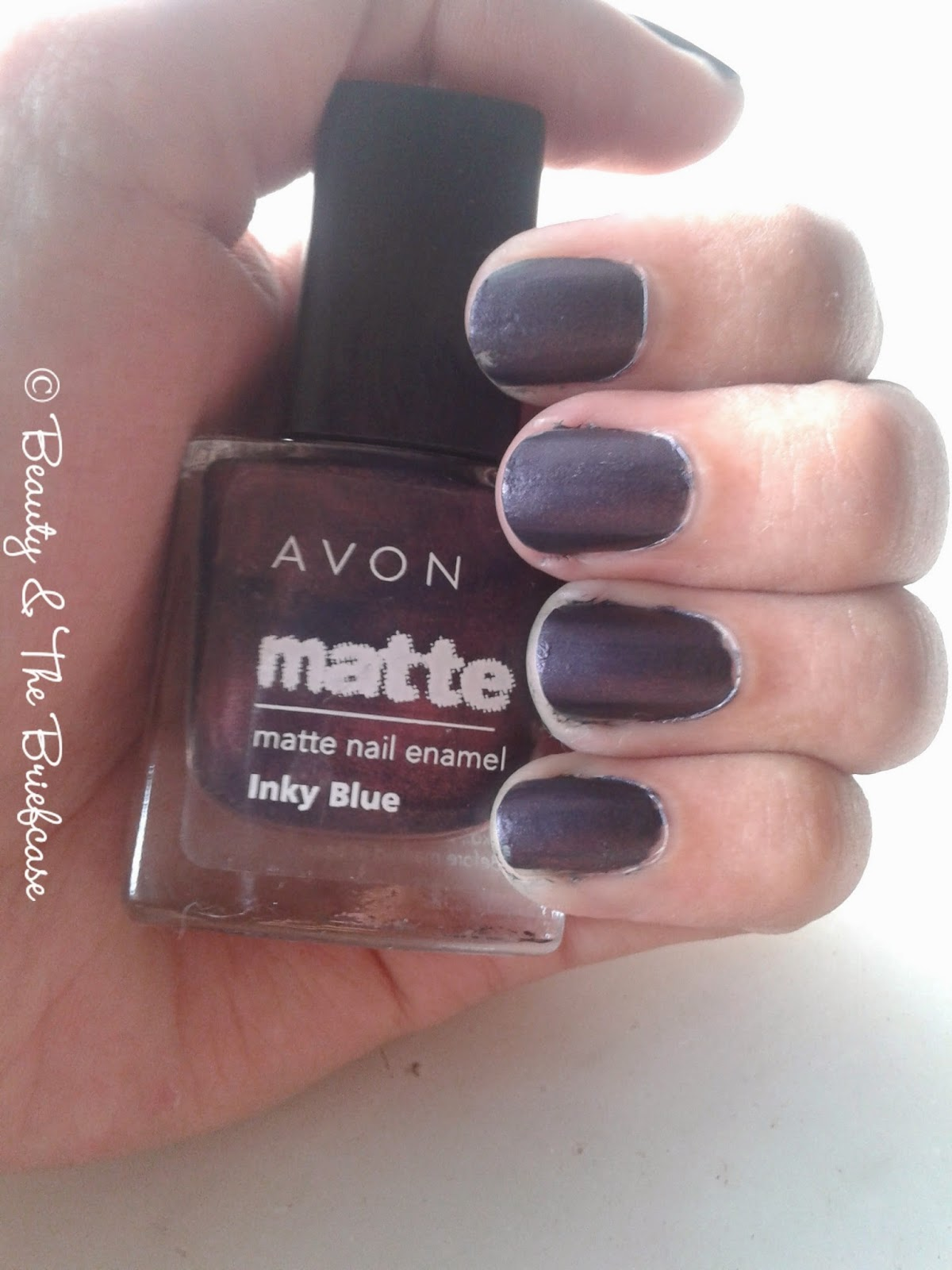 Beauty & The Briefcase: Avon Inky Blue Matte Nail Polish : Review & NOTD