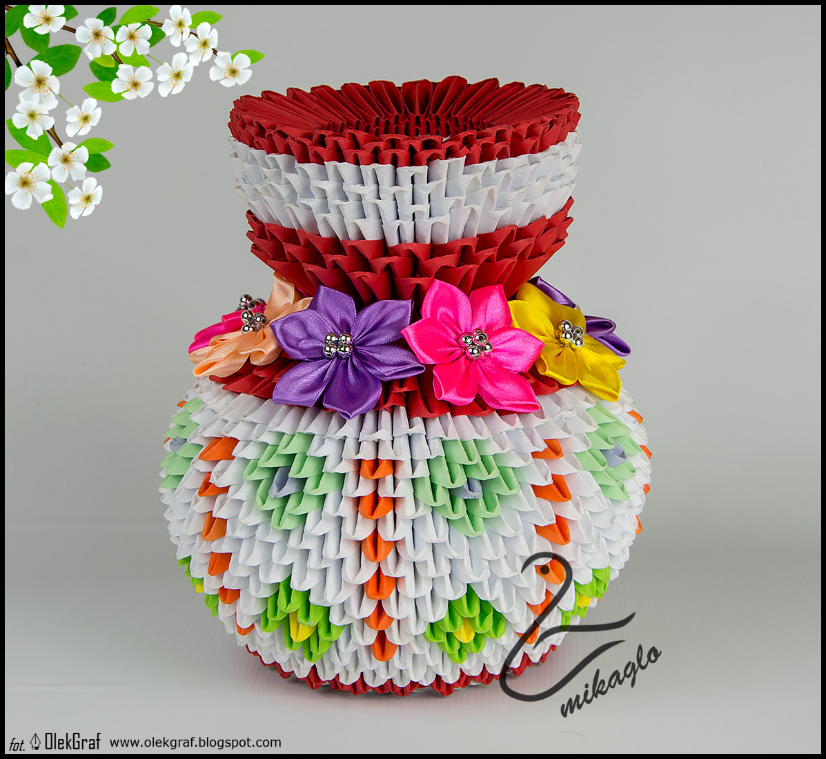 origami 3d mikaglo 137 wazon origami z kwiatami 3d