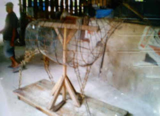 kerangka konstruksi model tanah liat patung kerbau
